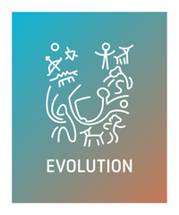 Evolution logo design with outline and thin linear graphics.