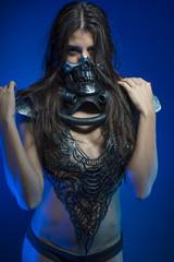 halloween, girl with iron armor and metal skull, sensual dark an