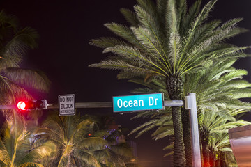 Ocean drive sign in Miami by night
