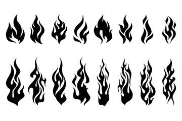 Wall Mural - Fire tattoo vector set