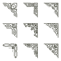 Wall Mural - Vector calligraphic line corners for vintage frames