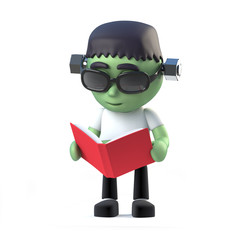 3d Child frankenstein monster reads a book