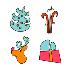 A set of images for the Christmas and New Year 2017. Eve. Xmas. Vector illustration