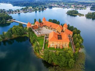 Trakai, Lithuania: Island castle, aerial UAV top view, flat lay