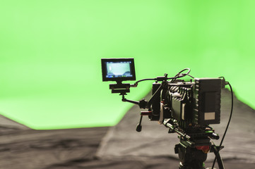 Digital Cinema Camera on a greenscreen set.