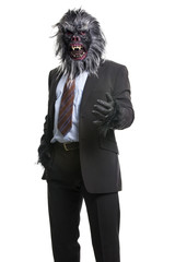 Gorilla In Business Suit holds hand welcome gesture