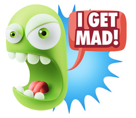 Keuken foto achterwand Draw 3d Rendering Angry Character Emoji saying I Get Mad with Colorfu
