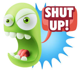 Keuken foto achterwand Draw 3d Rendering Angry Character Emoji saying Shut Up with Colorful