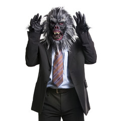 Gorilla In Business Suit expressing anger with hands up