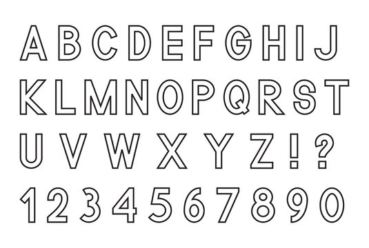 Latin alphabet letters with set of numbers 1, 2, 3, 4, 5, 6, 7, 8, 9, 0 and punctuation signs, outlined, isolated on white background, vector illustration.