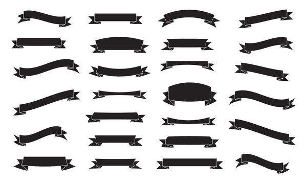 Set of ribbons, black isolated on white background, vector illustration.