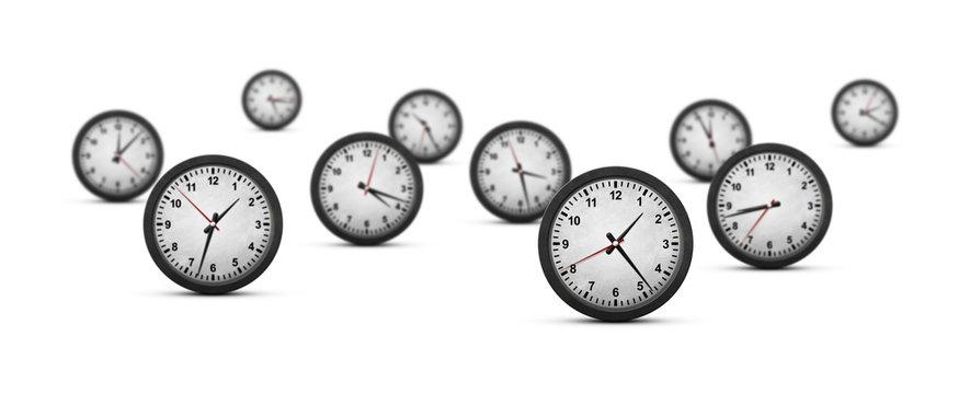 Group of clocks on white background