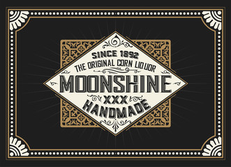 Vintage label design for Whiskey and Wine label, Restaurant bann
