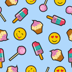 Seamless background with cartoon food designs
