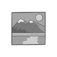 Drawing mountain landscape icon in black monochrome style isolated on white background. Painting symbol vector illustration