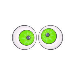 Halloween eyes icon in cartoon style isolated on white background vector illustration