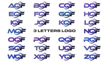 3 letters modern generic swoosh logo AQF, BQF, CQF, DQF, EQF, FQF, GQF, HQF, IQF, JQF, KQF, LQF, MQF, NQF, OQF, PQF, QQF, RQF, SQF, TQF, UQF, VQF, WQF, XQF, YQF, ZQF
