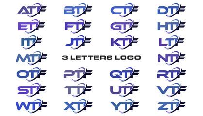 3 letters modern generic swoosh logo ATF, BTF, CTF, DTF, ETF, FTF, GTF, HTF, ITF, JTF, KTF, LTF, MTF, NTF, OTF, PTF, QTF, RTF, STF, TTF, UTF, VTF, WTF, XTF, YTF, ZTF