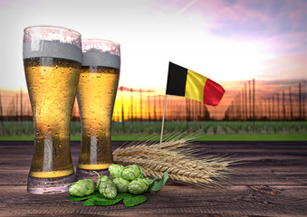 beer consumption in Belgium. 3D render
