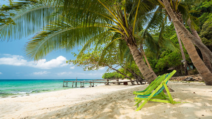 Wall Mural - Outdoor with  chair on beautiful tropical beach