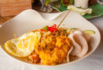 Soup dumplings I ate in Bali, Nasi goreng which I ate in Bali, Indonesia