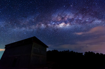 Milky way galaxy at Kudat Sabah Malaysia. Image contain soft focus and blur due to long expose.