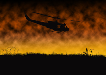 Silhouette of Vietnam war helicopter