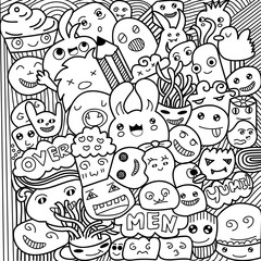 Vector illustration of Monsters and cute alien friendly, cool, cute hand-drawn