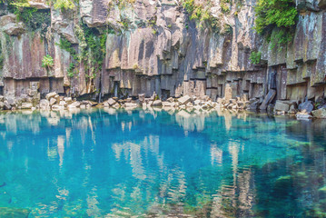 Cheonjeyeon Falls, Jeju Island, South Korea..