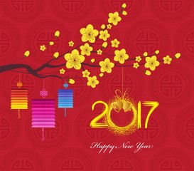 Chinese new year 2017 lantern and blossom