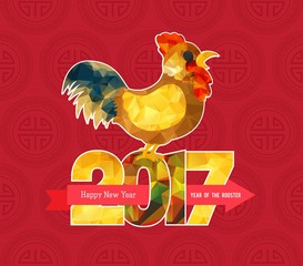 Chinese new year 2017 polygonal rooster
