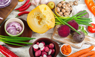 Raw vegetables background. Healthy eating.
