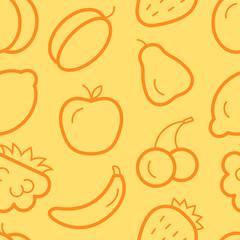 Cute orange seamless pattern with sweet fruits