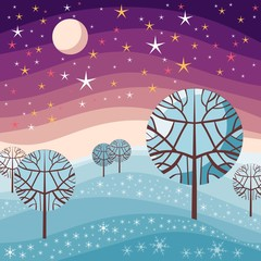 Winter landscape. Night scene with snow, trees, starry sky and moon. Vector illustration.