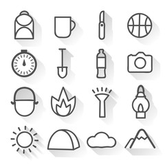 Camping Monochrome Linear Icons Set