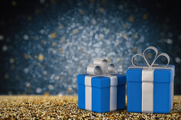 blue gift box with blank space