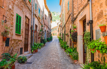 Old mountain village Valldemossa Majorca Spain