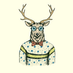 Hipster deer like a man dressed in the blouse