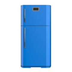 blue fridge isolated on white