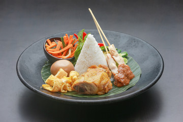 Lunch time - traditional indonesian meal on the plate