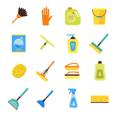 Cleaning Kit Colorful Icon Set. Vector