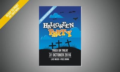 blue halloween party flyer vector