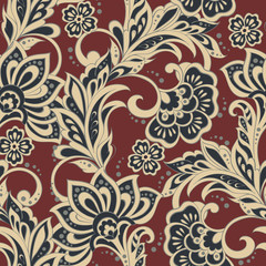Floral Pattern in Indian Batik Style