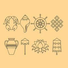 Buddhist symbolism, The 8 Auspicious Symbols of Buddhism, Right-coiled White Conch, Precious Umbrella, Victory Banner, Golden Fish, Dharma Wheel, Auspicious Drawing, Lotus Flower, Vase of Treasure.