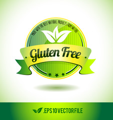 Gluten free badge label seal text tag word