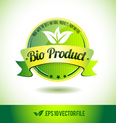 Bio product badge label seal text tag word