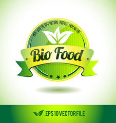 Bio food badge label seal text tag word