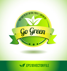 Go green badge label seal text tag word