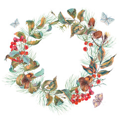 Watercolor vintage autumn wreath with branches of rowan, spruce,