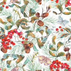 Autumn seamless pattern with branches of rowan